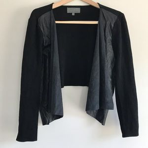 Sunday in Brooklyn Faux Leather/Suede Cardigan